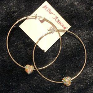 Betsey Johnson gold tone hoop earrings